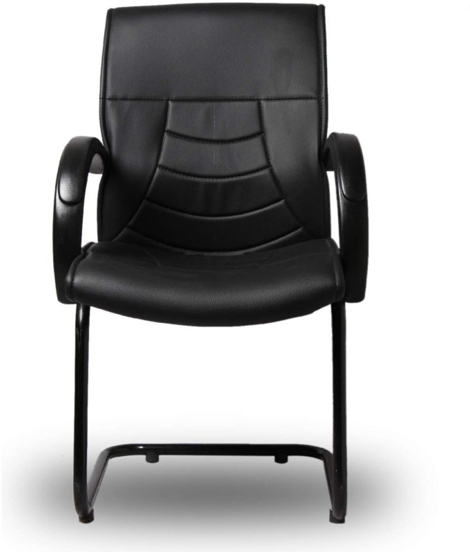 Giantwood Domin Low Back Staff Visitor Reading Executive Office Chair Leather Arm Black