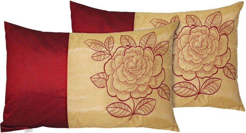 Hemden Embroidered Pillows Cover -Pack of 2, 45 cm*70 cm, Maroon, Beige