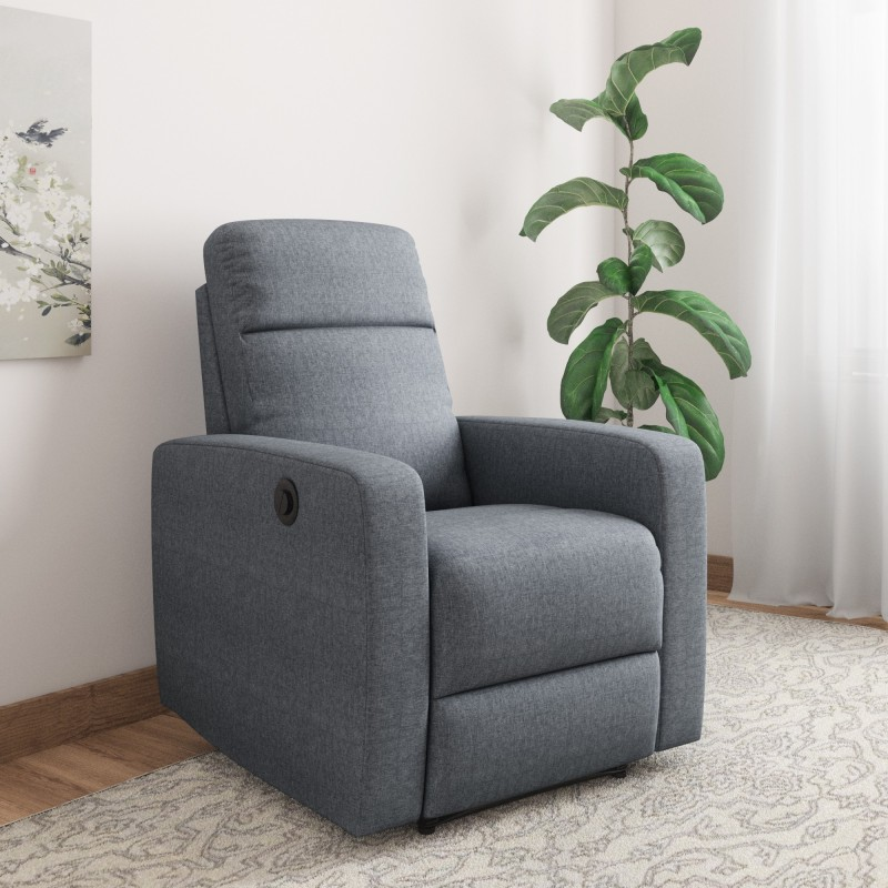 @home by Nilkamal Fabric Powered Recliners -Finish Color – Blue