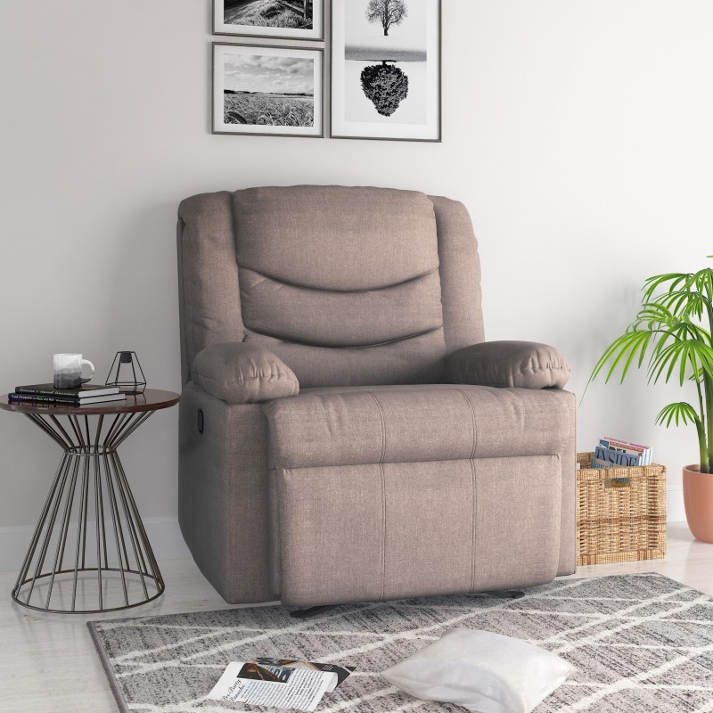 @home by Nilkamal Fabric Powered Recliners -Finish Color – Honey Beige