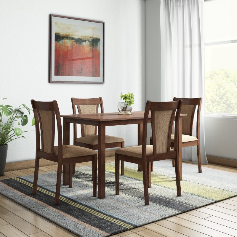 @home by Nilkamal Jewel Solid Wood 4 Seater Dining Set  -Finish Color – Walnut