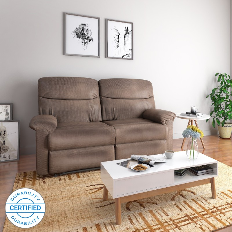 @home by Nilkamal Rays Fabric Manual Recliners -Finish Color – Brown