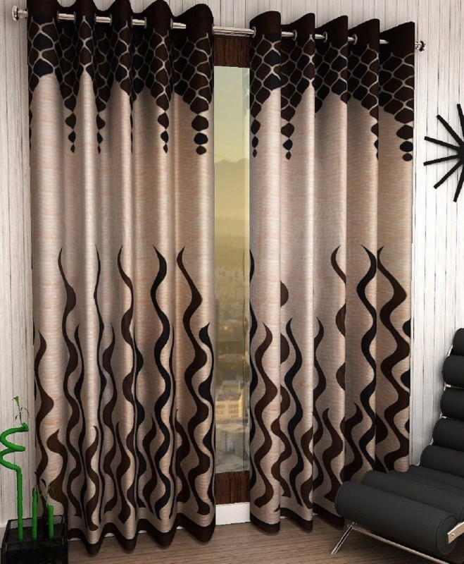 Home Sizzler 214 cm (7 ft) Polyester Door Curtain ,Pack Of 2 – Abstract, Brown