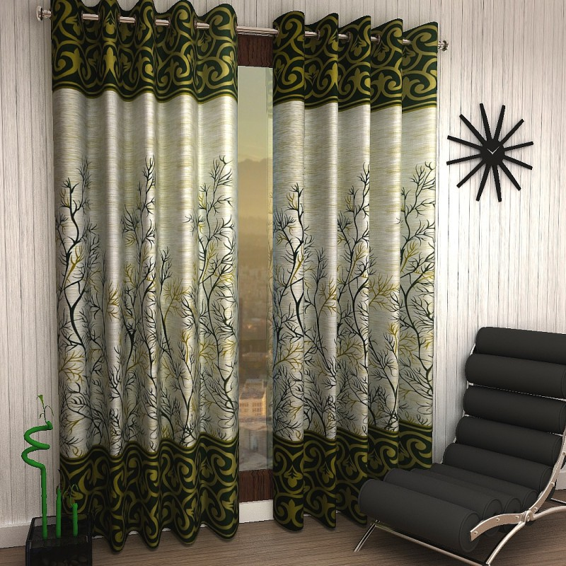 Home Sizzler 214 cm (7 ft) Polyester Door Curtain ,Pack Of 2 – Floral, Green