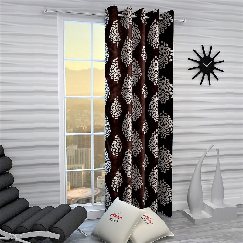 Home Sizzler 214 cm (7 ft) Polyester Door Curtain Single Curtain -Printed, Brown