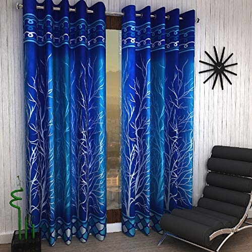 Home Sizzler 153 cm (5 ft) Polyester Window Curtain ,Pack Of 2  -Abstract, Blue