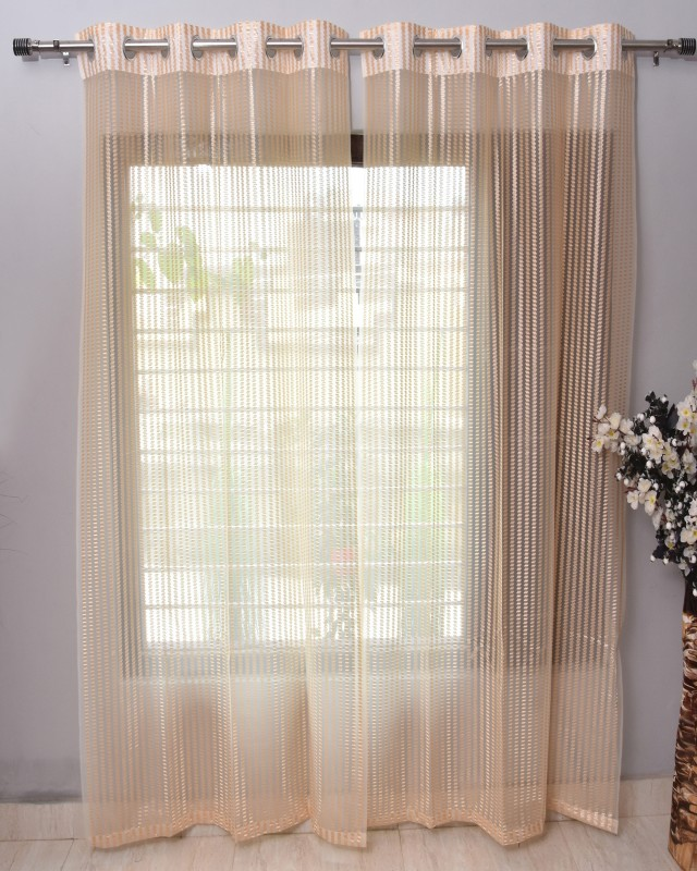 Homefab India 183 cm (6 ft) Tissue Shower Curtain -Pack Of 2  -Solid, Beige