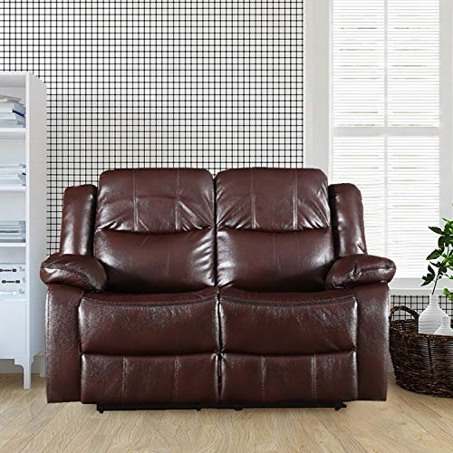 HomeTown Hugo Leather Fabric 2 Seater Recliner (Brown)
