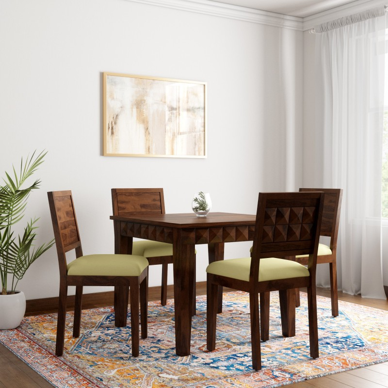 Induscraft Sheesham Wood Solid Wood 4 Seater Dining Set  -Finish Color – Brown