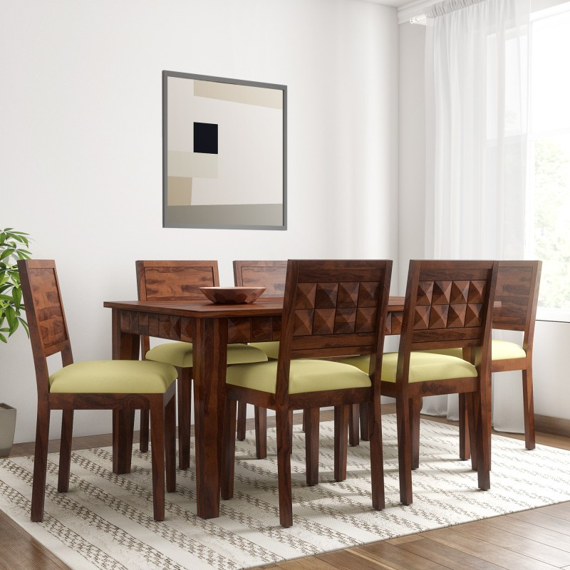 Induscraft Sheesham Wood Solid Wood 6 Seater Dining Set  -Finish Color – Brown