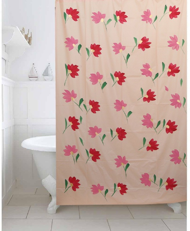 Kuber Industries 213 cm (7 ft) PVC (Polyvinyl Chloride) Shower Curtain Single Curtain -Floral, Pink