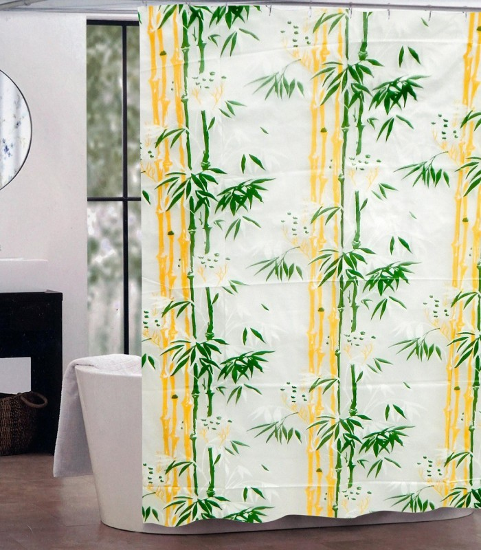LooMantha 200 cm (6 ft) PVC -Polyvinyl Chloride,Shower Curtain Single Curtain  -Self Design, Green