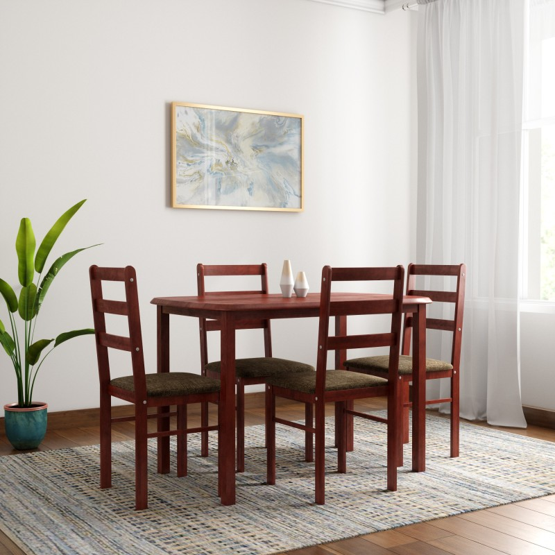 Woodness Eleanor Solid Wood 4 Seater Dining Set  -Finish Color – Mahogany
