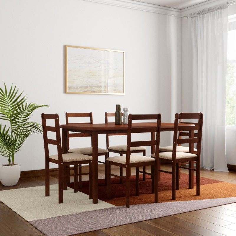 Woodness Eleanor Solid Wood 6 Seater Dining Set -Finish Color – Wenge
