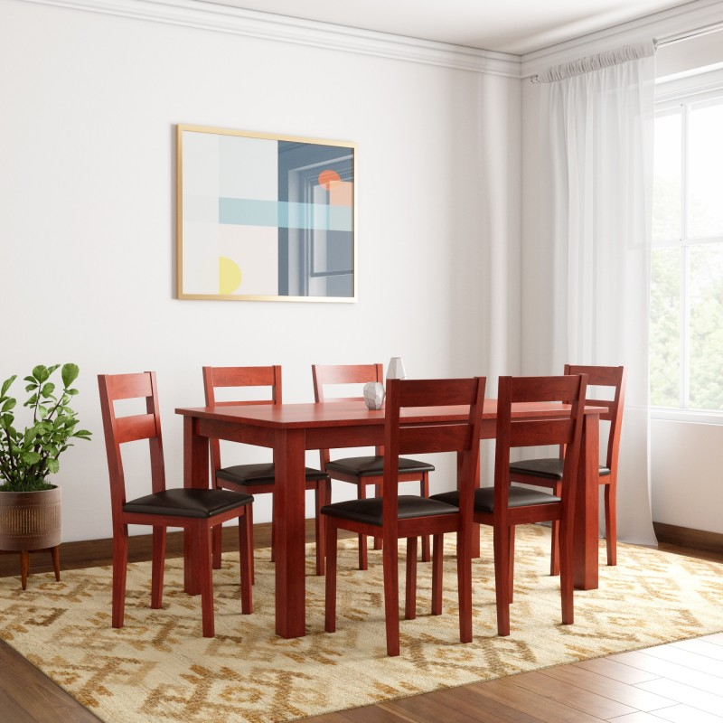 Woodness Vivian Solid Wood 6 Seater Dining Set  -Finish Color – Mahogany