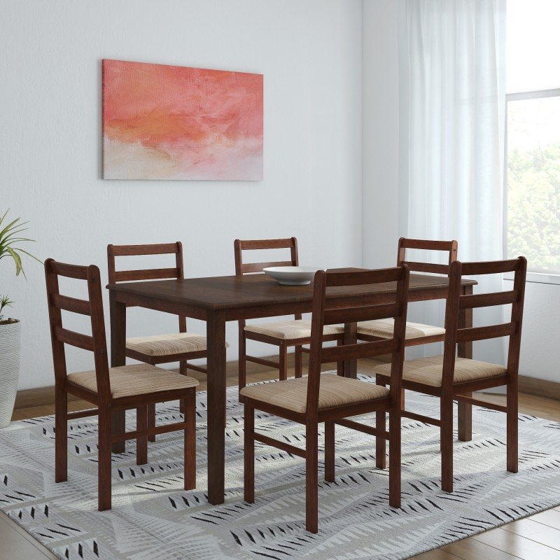 Woodness Winston Upholstered Solid Wood 6 Seater Dining Set  -Finish Color – Wenge