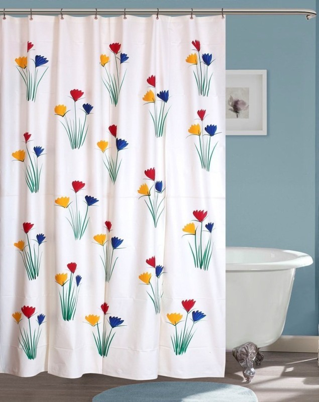 Yellow Weaves 213 cm (7 ft) PVC (Polyvinyl Chloride) Shower Curtain Single Curtain -Floral, Multicolor