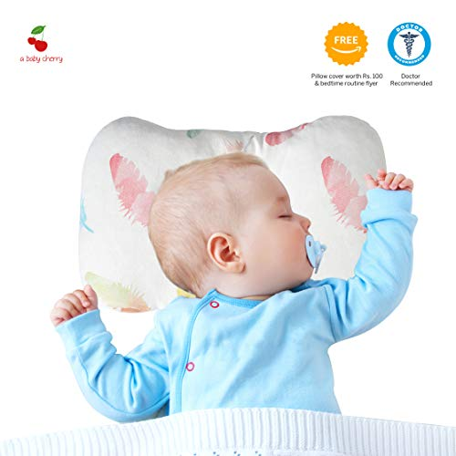 A Baby Cherry Baby Pillow :: Organic Cotton Head Shaping Pillow for Infants and Toddlers (0M to 5 Yr) – Unisex || Washable || 3D Mesh Structure || Prevent Flat Head + Free Pillow Cover -Feathers