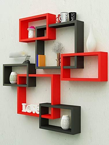 Amaze Shoppee MDF Wall Decoration Intersecting Floating Shelves