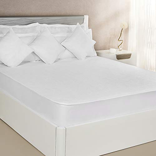 Amazon Brand – Solimo Waterproof Terry Cotton Mattress Protector, 78×72 inches, King Size -White