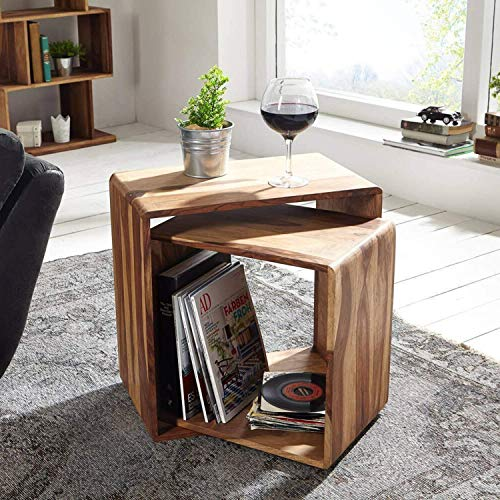 Corazzin Wood Sheesham Wood Bedside Table for Bedroom