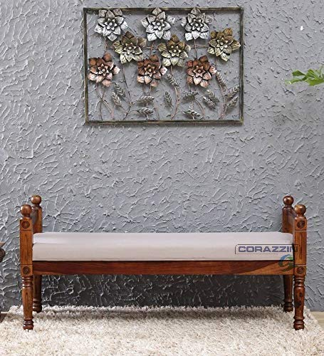 Corazzin Wood Sheesham Wood Bench for Living Room | Hallway Furniture | 3 Seater Bench | Natural Finish