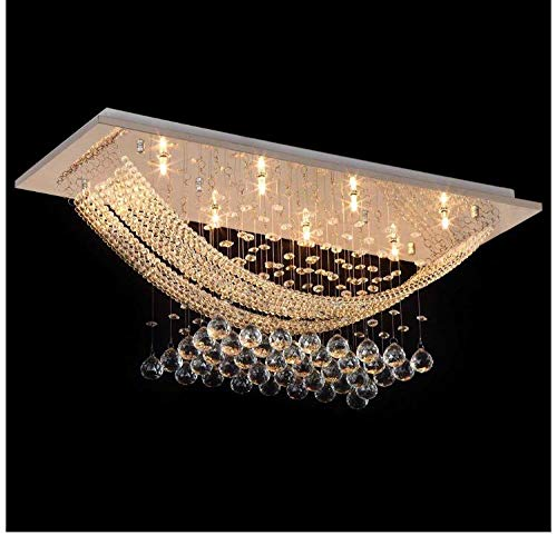 Crysta World Glass Ceiling Lamp K9 Chandelier with Glass Bead & Crystal Ball