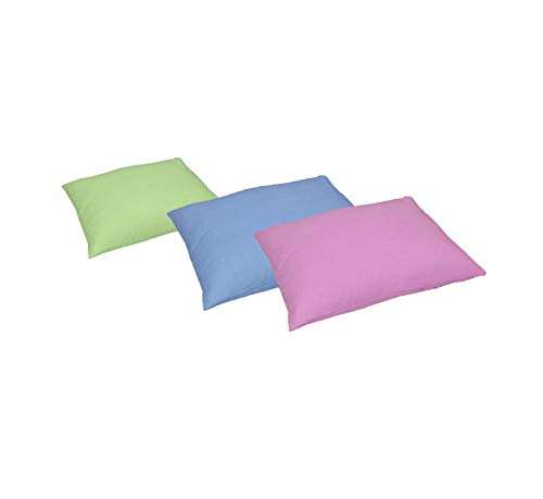Glus Newborn Baby's Mustard/Rai Filled Pillow with 3 Pillow Covers ,Pink+Blue+Green, Children: M