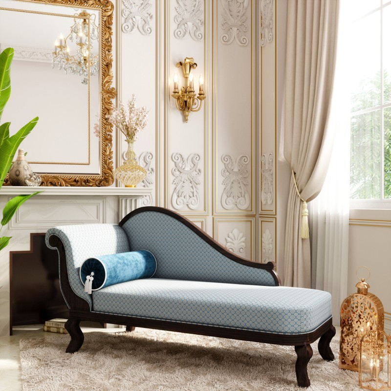 House of Pataudi Ruhani Solid Wood Chaise  -Finish Color – Brocade Blue