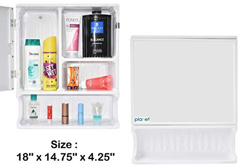 Planet Forever Multipurpose Bathroom Cabinet with Mirror – White)