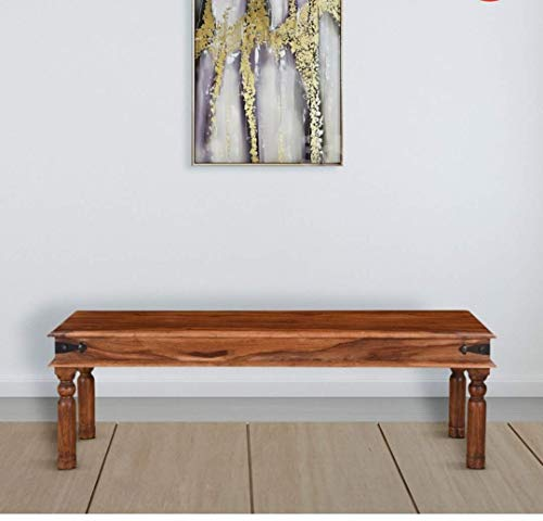 RANI SATI FURNITURE Solid Sheesham Wood, Honey Finish Bench for Living Room