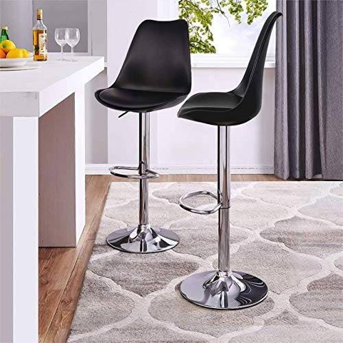 SAVYA HOME® Curvy Kitchen Stool/BAR Stool  Black Color