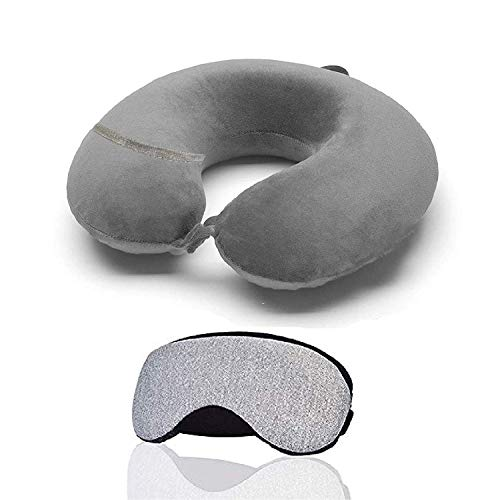 Trajectory 2 in 1 Travel Combo: Supercomfy Travel Grey Neck Pillow with Sleeping Eye Mask