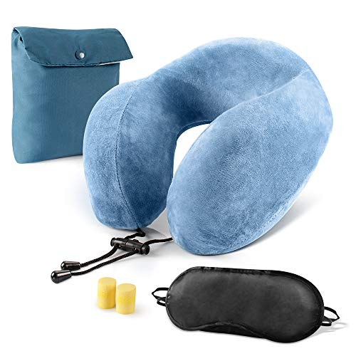 Zafos Soft U Shape Memory Foam Neck Travel Pillow Head Rest, Airplane Travel Kit with 3D Eye Mask, Noise Isolating Ear Plugs with Carry Bag, Blue