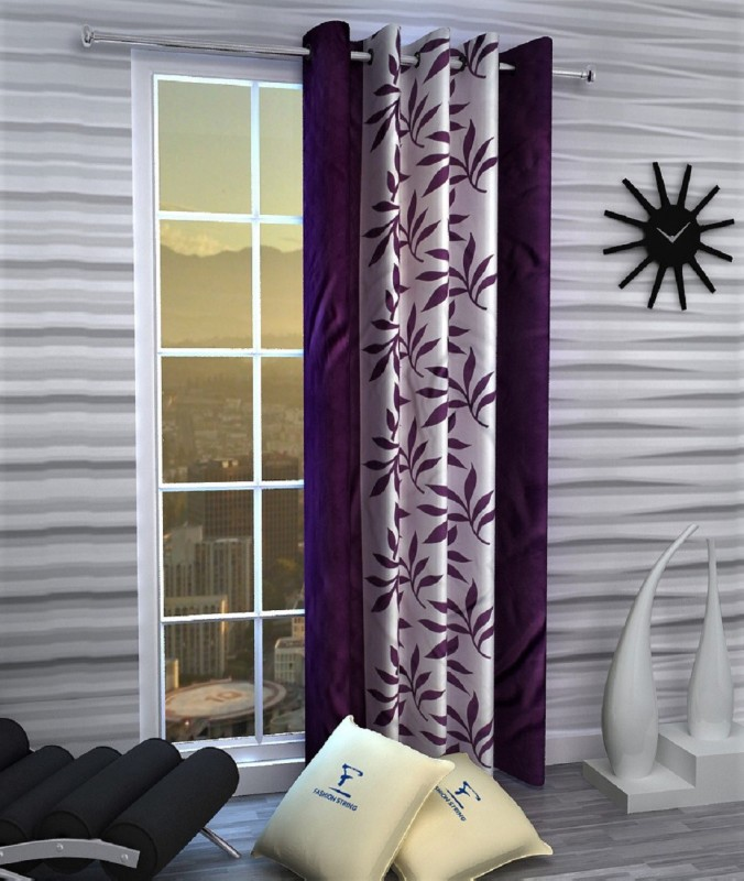 Fashion String 152 cm (5 ft) Polyester Window Curtain Single Curtain -Floral, Purple